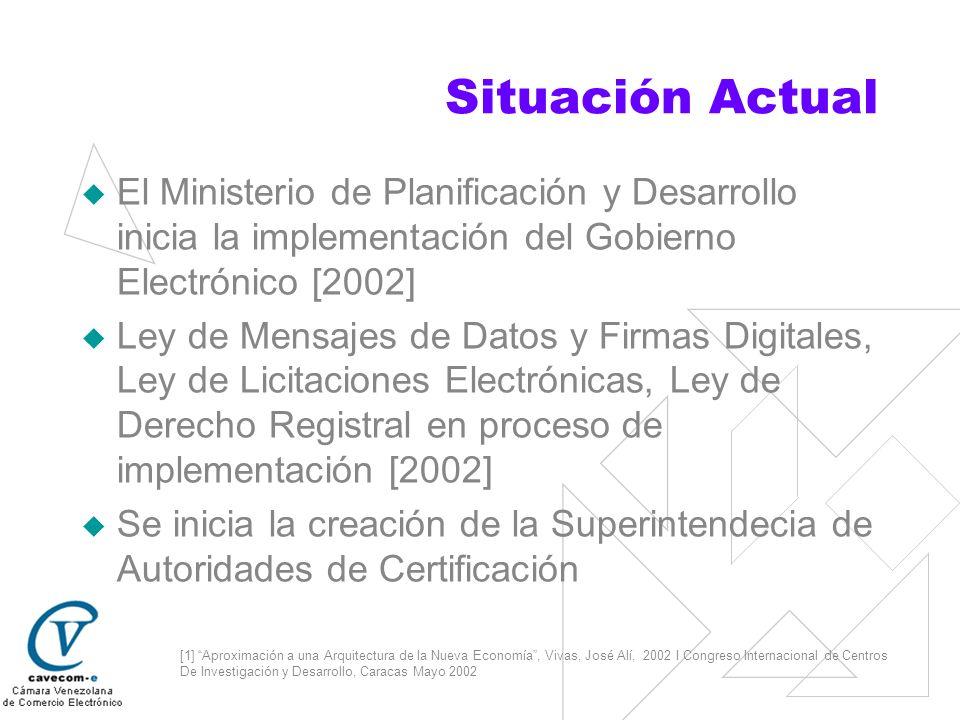 Situación Actual El Ministerio de Planificación y Desarrollo inicia la implementación del Gobierno Electrónico [2002]